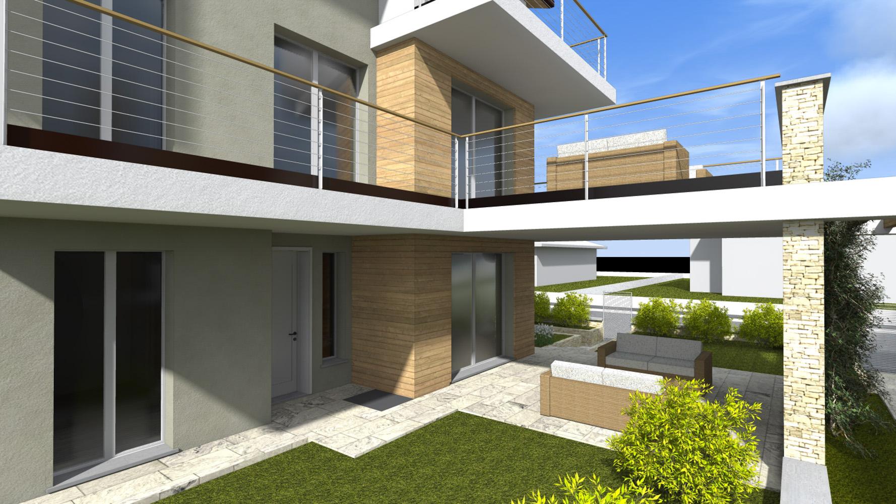 T1 trilocale con giardino for Travi in legno sul portico anteriore